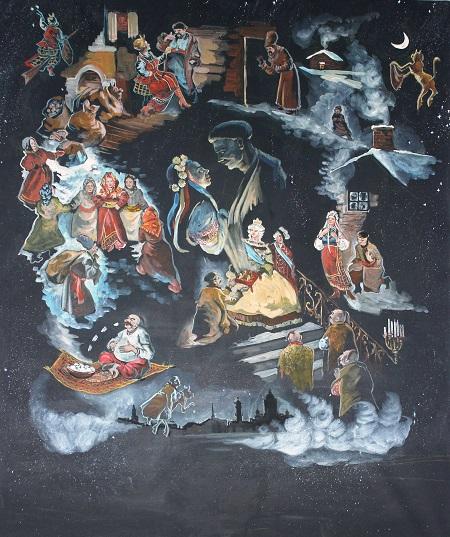 """Даниэла Рябичева """"Ночь перед Рождеством""""  гуашь, темпера, 2014 г."""